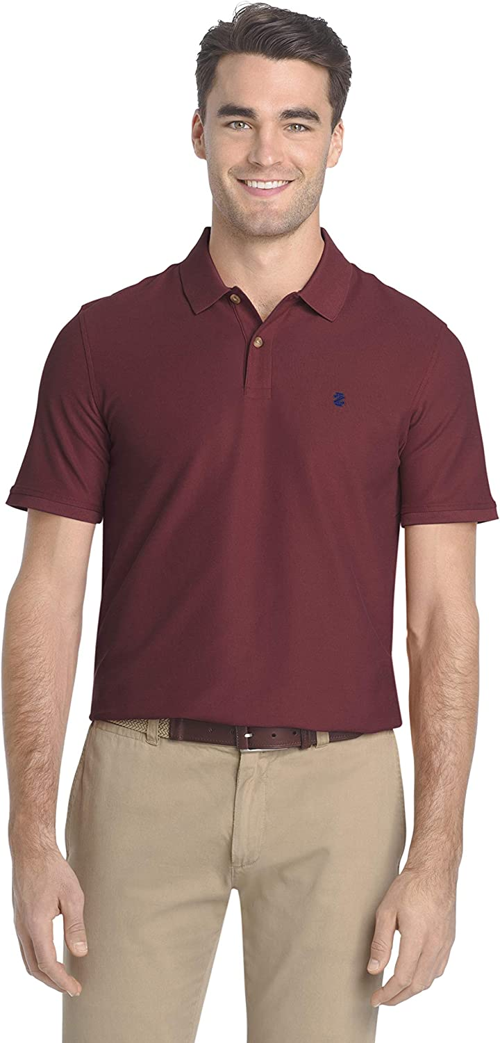 IZOD Mens Slim Fit Advantage Performance Short Sleeve Solid Polo