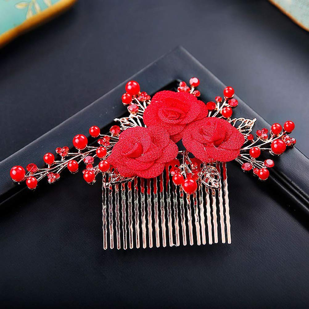 Artificial/Pearl Hair Comb with Rose Flower Vintage Chinese Style Wedding Bridal Eye-Catching Hair Accessories Wedding Dress Accessories for Women