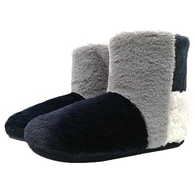 super cute 0b12e ba5f8 COFACE Damen Kuschelige Hausschuhe Hochwertig Warm innengefüllte  Hausstiefel Rutschfest Hüttenschuhe für Winter