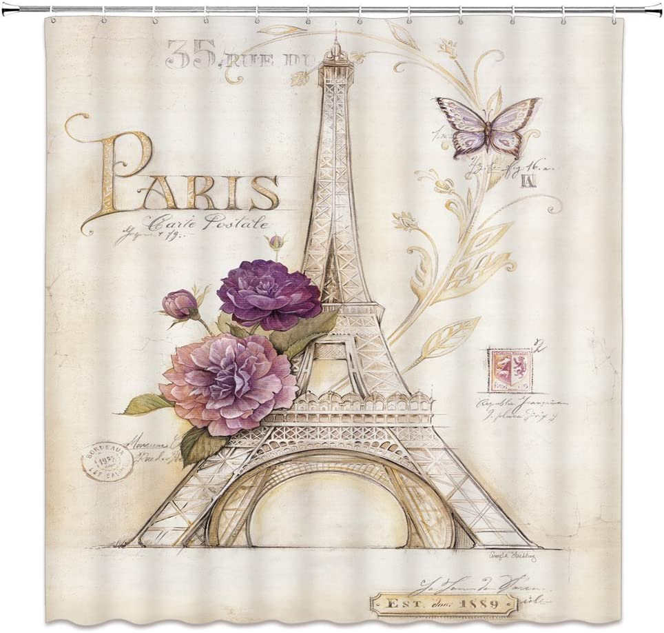 Vintage Eiffel Tower Butterfly Rose Postale Fabric SHOWER CURTAIN 70 Retro Paris