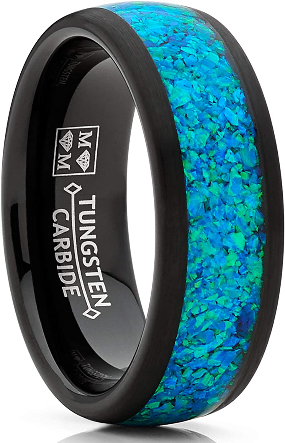 Metal Masters Co. Men's Women's Black Tungsten Carbide Wedding Band Engagement Ring, Crushed Opal Inlay 8mm