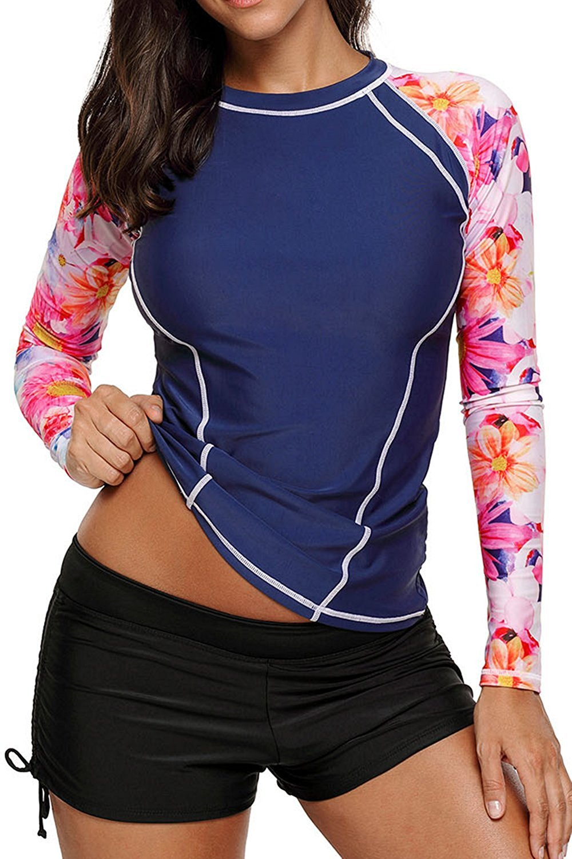 Anmengte 2 Pcs Women's Swimsuit Rash Guard Long Sleeve Tankini UV Sun Protection Athletic Cover up Swimwear(Blue Flower,XXXL)
