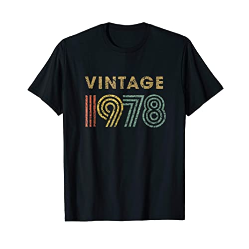 Vintage T Shirt Born In 1978 Retro 40th Birthday Gift