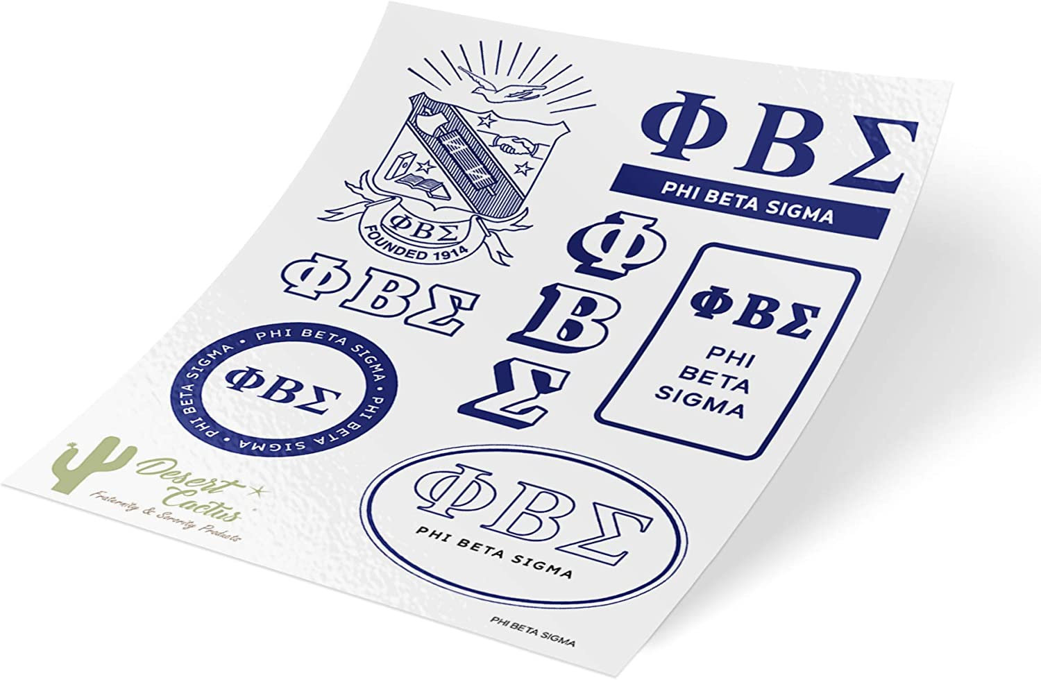 Phi Beta Sigma Standard Sticker Sheet Decal Laptop Water Bottle Car Sigma (Full Sheet - Standard)