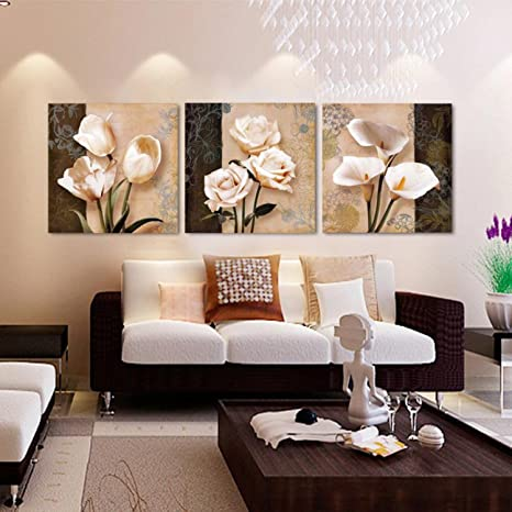 Amazon Com Hd Printed Pictures Canvas Wall Art Living Room Home Decor 3 Pieces Abstract Tulip Flowers Paintings Framework Classical Poster Posters Prints