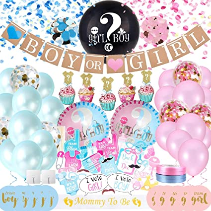 36inch He Or She Gender Reveal Latex Balloon Confetti Tassel Home Party Supplies