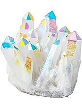 rockcloud Healing Stone Titanium Coated AB Crystal Cluster Geode Druzy Home Decoration Gemstone Specimen