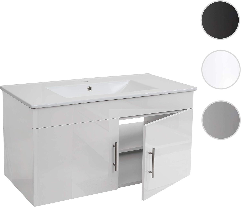 Meuble sous Vasque Lavabo Meuble sous /évier HWC-D16 Poli Miroir 90cm ~ Blanc