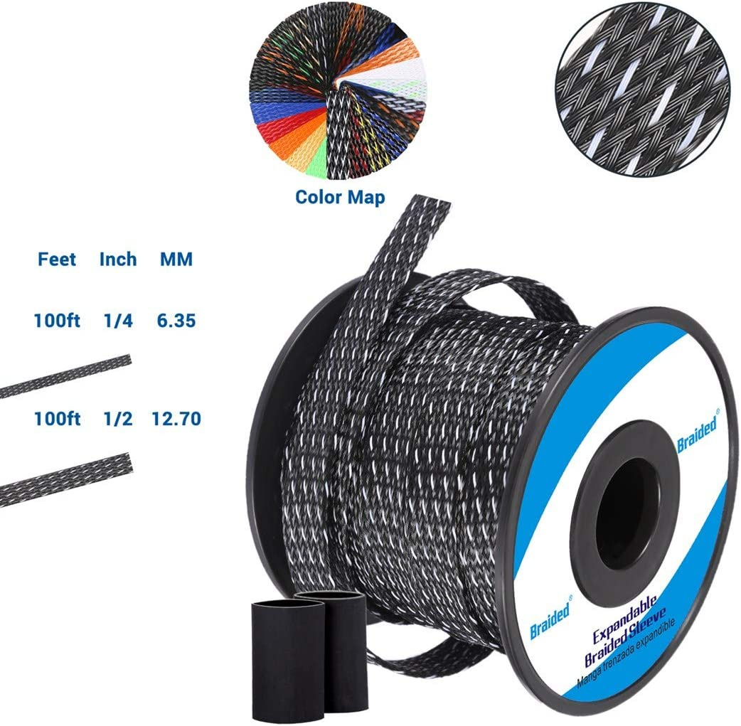 Flexible PET Expandable Braided Cable Sleeve 100ft-1/2 inch, Premium Wires Sleeving Management and Organizer, Protector for TV, Audio, PC, and Other Home or Office Device Cords-Black&White