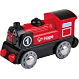 Hape Wooden Railway Battery Powered Engine No. 1 Kid's Train Set Red, White, Black, Blue, L: 3.7, W: 1.3, H: 1.9 inch