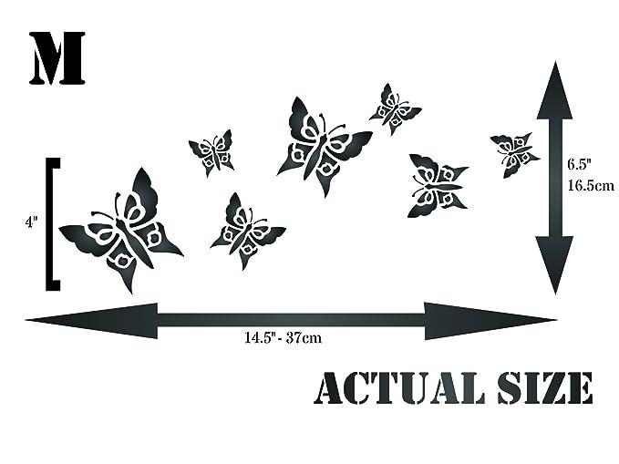 Plantilla de mariposas - Plantilla reutilizable de insectos de animales - Uso en proyectos de papel, álbumes de recortes, paredes suelos, tela, muebles, ...