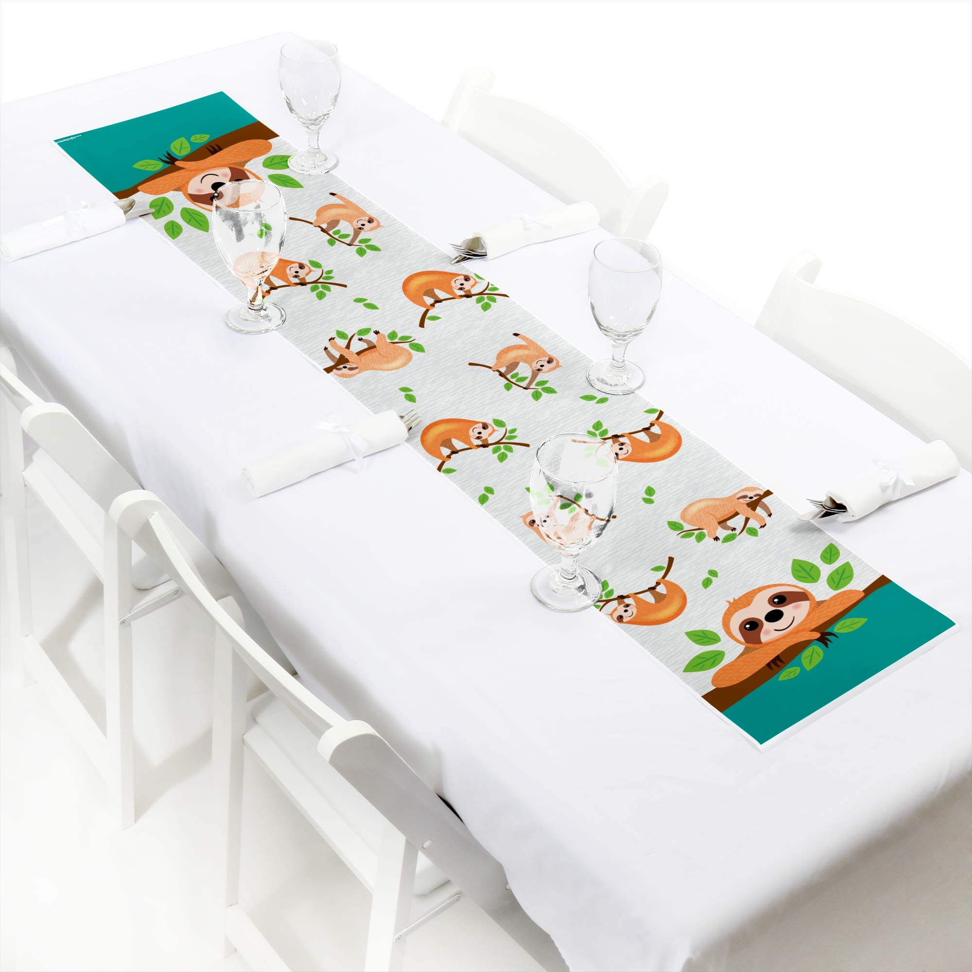 Big Dot of Happiness Let's Hang - Sloth - Petite Baby Shower or Birthday Party Paper Table Runner - 12 x 60 inches