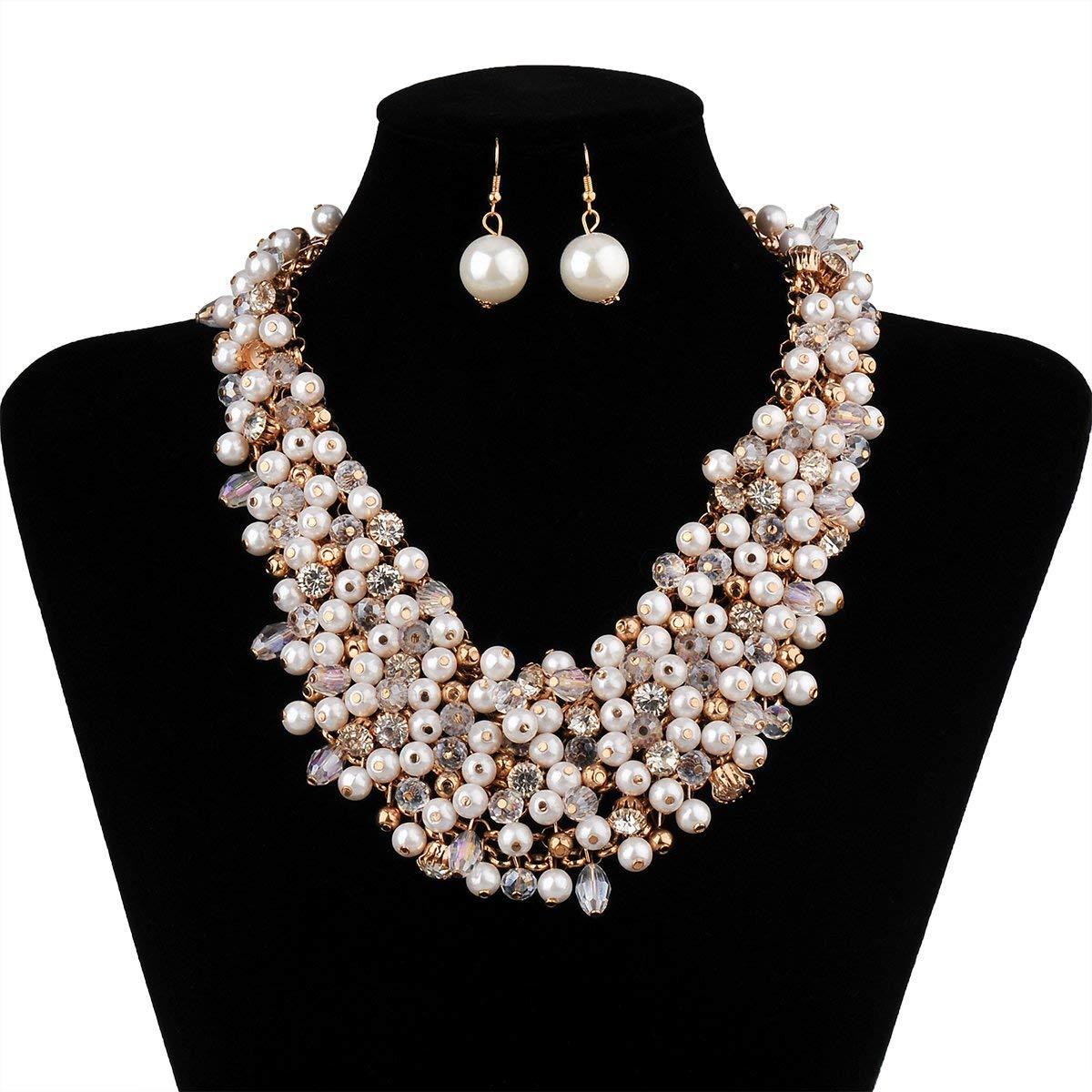edb8e650f5cc3 IPINK Fashion Women Big Faux Pearl Multi Strand Chunky Evening Jewelry Set