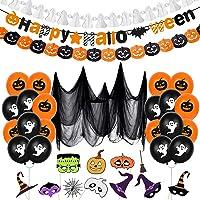 Bluelves Halloween decoratie, XXL Halloween ballonnen, griezel-decoratieset, Halloween slinger, pompoen ballonnen…