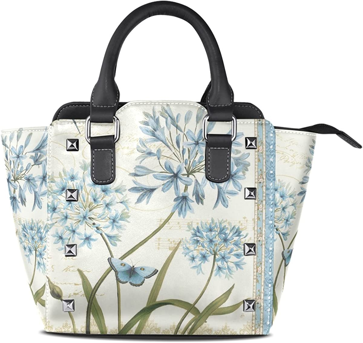 Jennifer Dragonfly And Blue Flowers PU Leather Top-Handle Handbags Single-Shoulder Tote Crossbody Bag Messenger Bags For Women