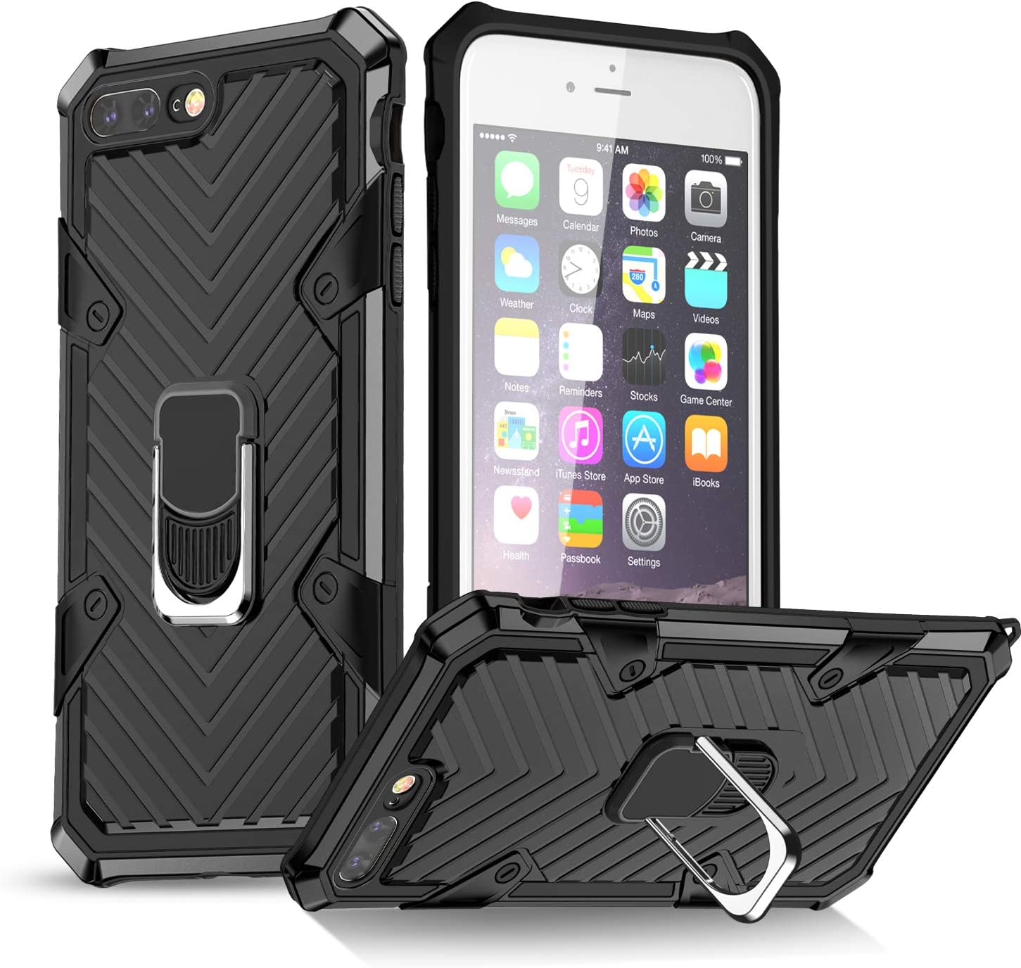 iPhone 7 Plus Case | iPhone 8 Plus Case | Kickstand | [ Military Grade ] 15ft. SGS Drop Tested Protective Case | Compatible for Apple iPhone 8 Plus/iPhone 7 Plus-Black