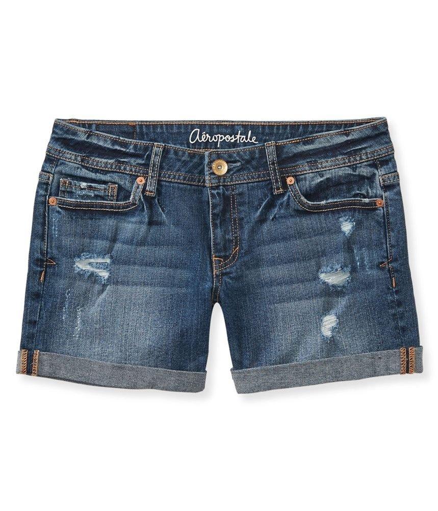 Aeropostale Womens Medium Wash Boyfriend Casual Denim Shorts Blue 0 - Juniors
