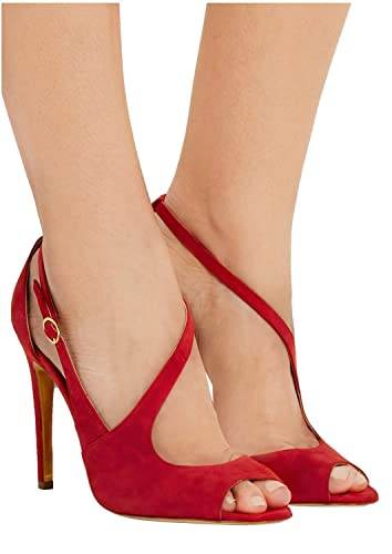 48667c4a153 Amazon.com | Kevin Fashion KLSDN229 Women's 4 Inch Heel Red Suede ...