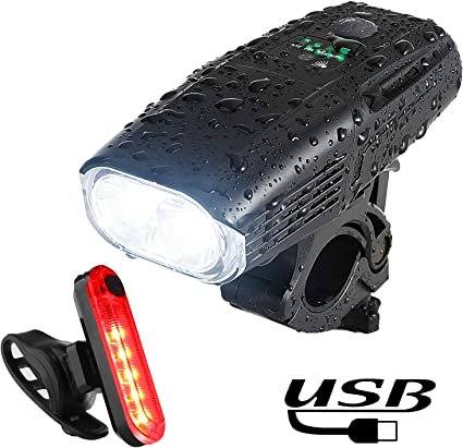 USB Rechargeable Bike Light Front 3 LED 1000 Lumen Cycling Light Flashlight