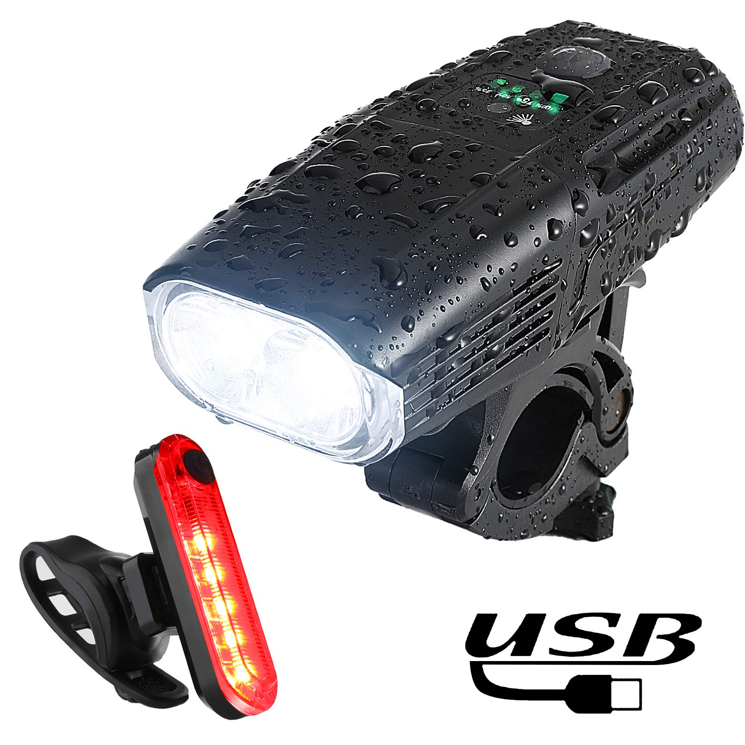 Super Bright Bike Light Front and Rear 1000LM Smart Led Bicycle Headlight Free Tail Light 4 Light Mode Safety Commuter Cycling Light for All Bikes Yosky USB Rechargeable Bike Light Set