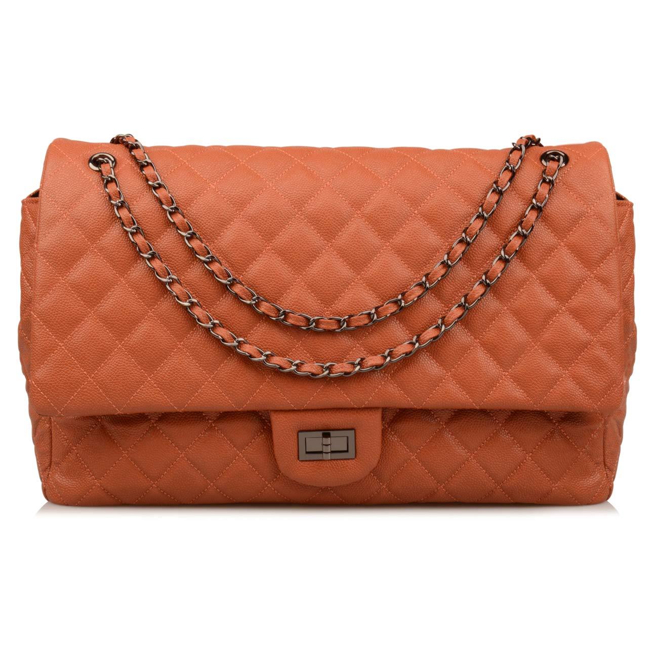 Ainifeel Women's Genuine Leather Oversize Quilted Flap Handbag Large Travelling Tote Bag Luggage Holdall (Oversize, Redish brown (gunmetal hardware))