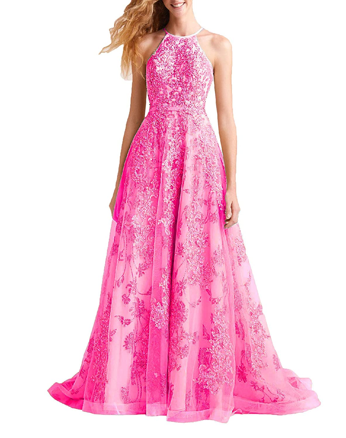 Hot Pink Wanshaqin Women's Aline Floral Beaded Prom Formal Dress Evening Cocktail Dress Bridesmaid Gown for Wedding Party