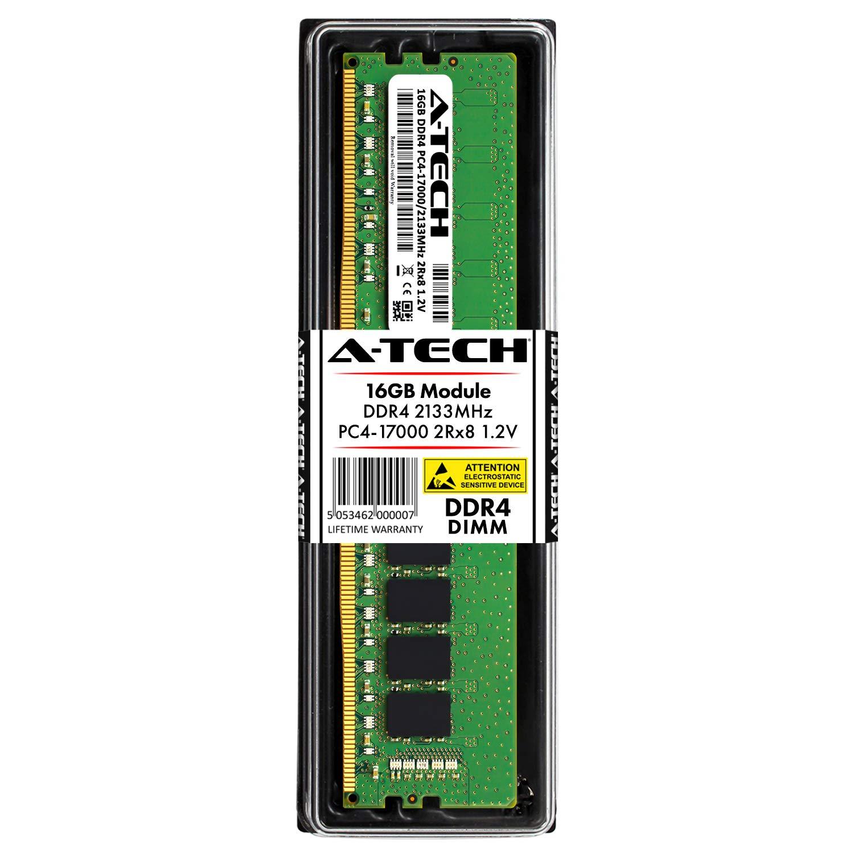 Memoria RAM 16GB A-Tech DDR4 2133MHz Modulo (1 x 16GB) PC4-17000 Non-ECC Unbuffered DIMM 288-Pin 2Rx8 1.2V Dual Rank Com
