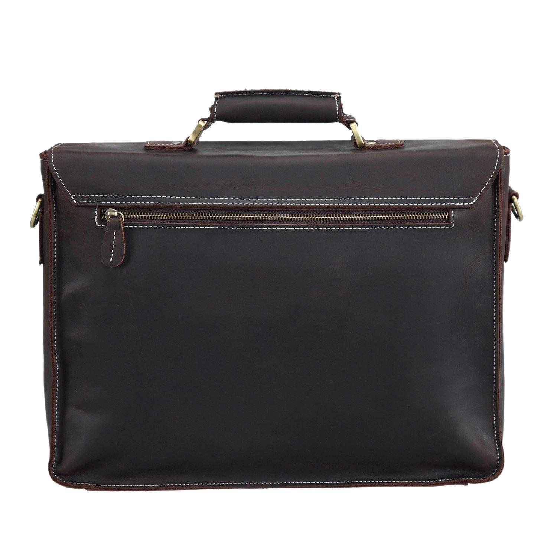 45e500c637 Amazon.com  Polare Men s Full Grain Leather Laptop Briefcase Messenger Bag  Vintage Travel Case  Computers   Accessories