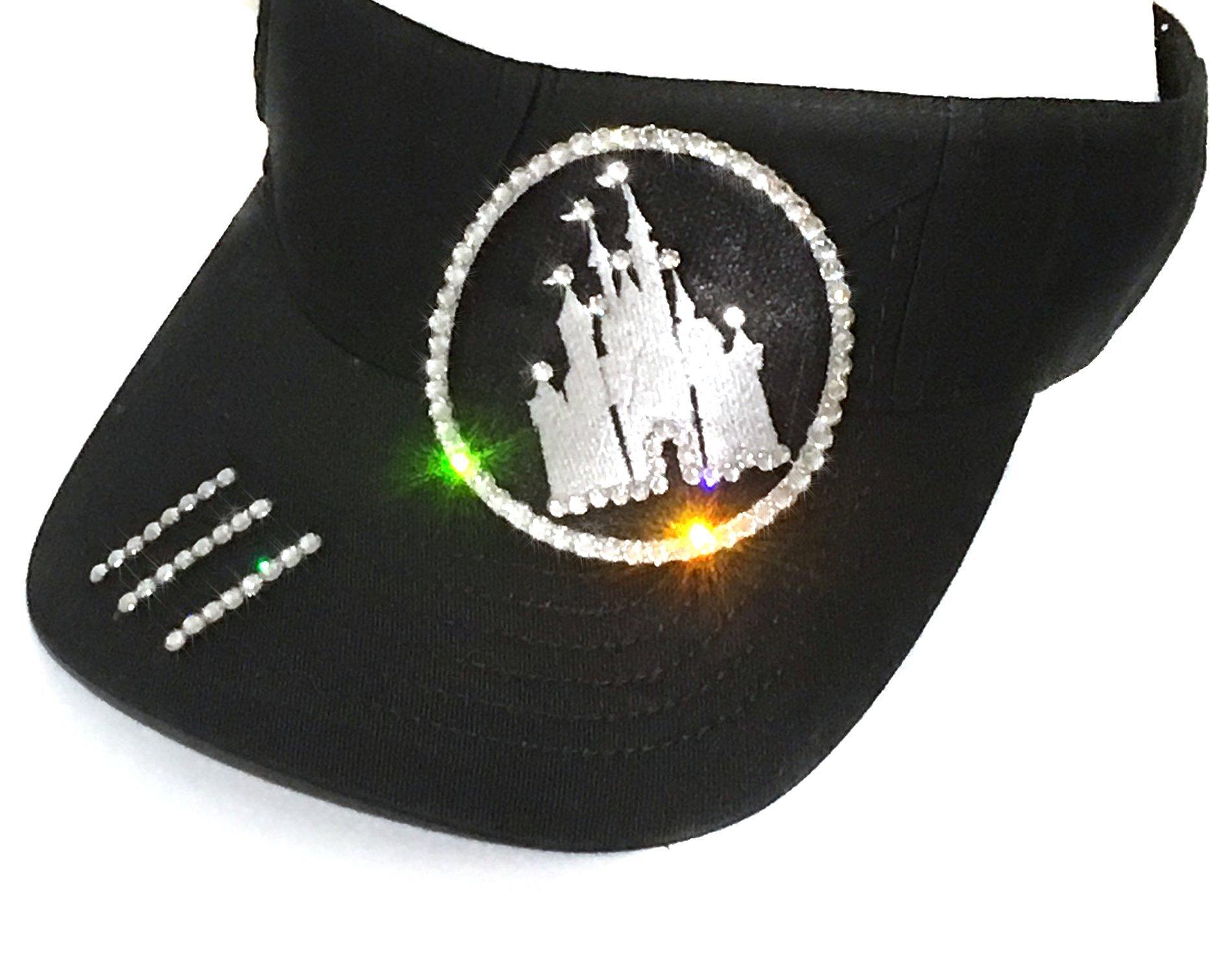 Elivata Women's Disney Castle Sun Visor Swarovski Crystal Rhinestones - One Size Black
