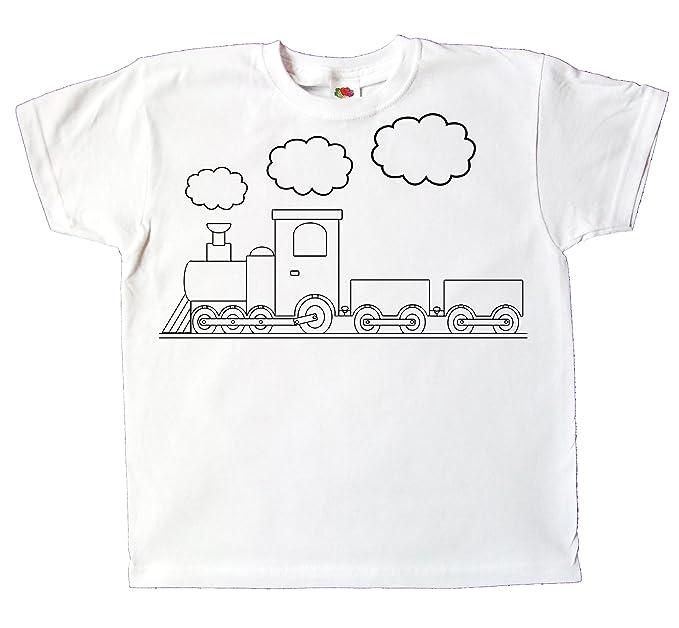Pixkids Kinder T Shirt Zug Eisenbahn Zum Bemalen Und Ausmalen Mit