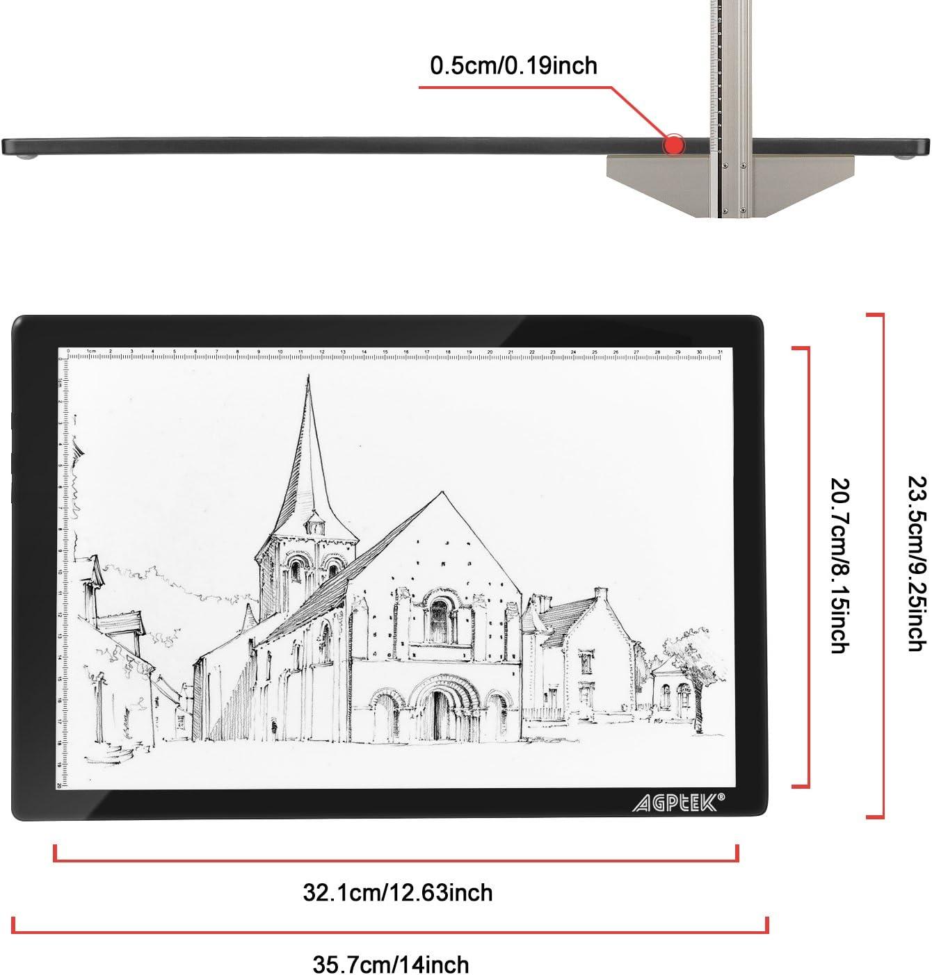 Mesa de Luz Dibujo A3 LED Tableta de Luz de Iluminaci/ón,Bot/ón f/ísico