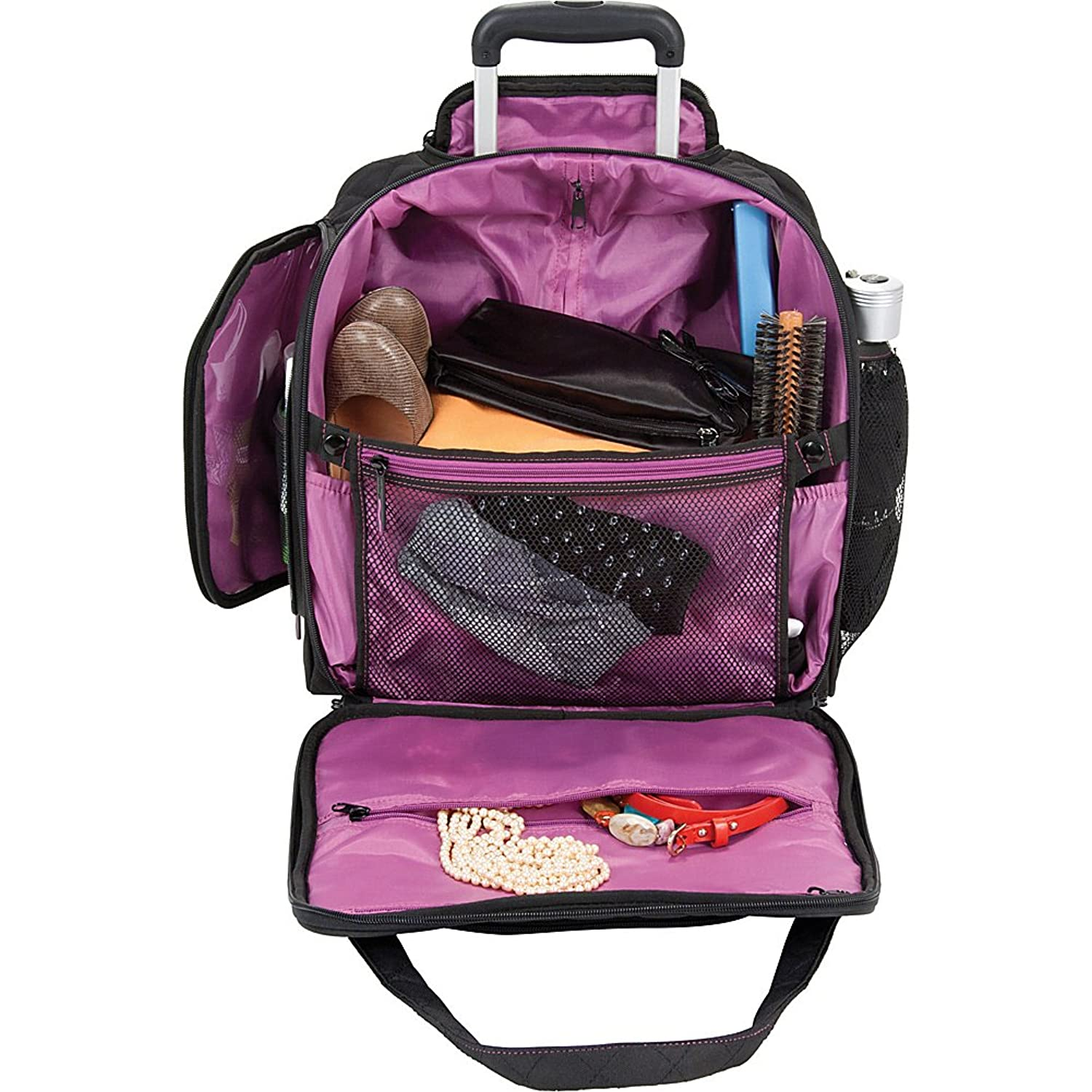 Amazon com delsey quilted rolling underseat tote exclusive black travel duffels