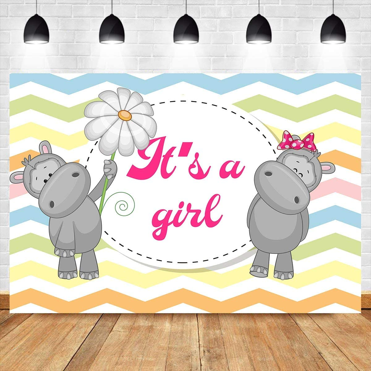 Baby Shower Photography Backdrop for Its a Girl Party Banner 10x7ft Colorful Wave Background Cake Table Decorations Photo Prop LYAY862