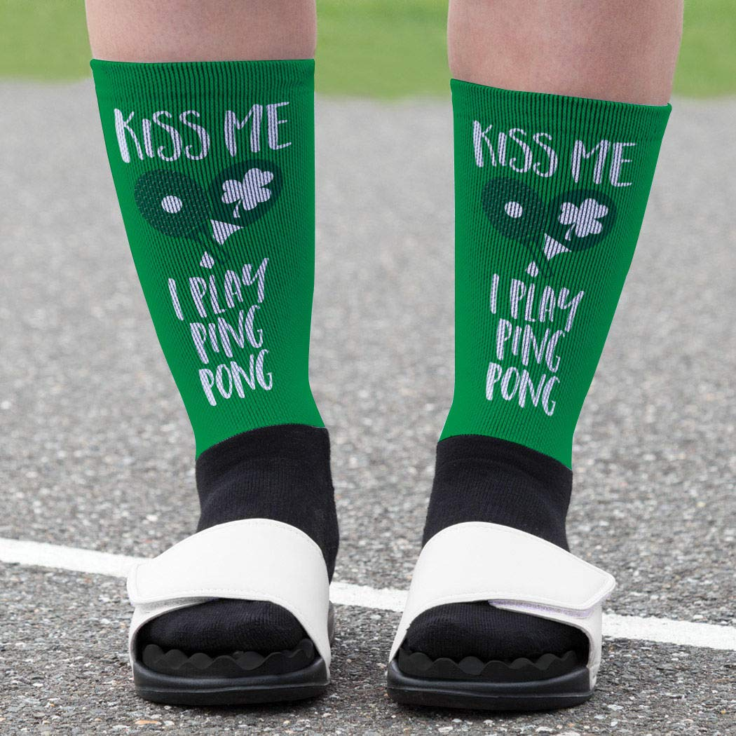 Amazon.com: Kiss Me I Play Ping Pong Printed Mid Calf Socks | Ping Pong Socks by ChalkTalkSPORTS | Multiple Sizes: Clothing