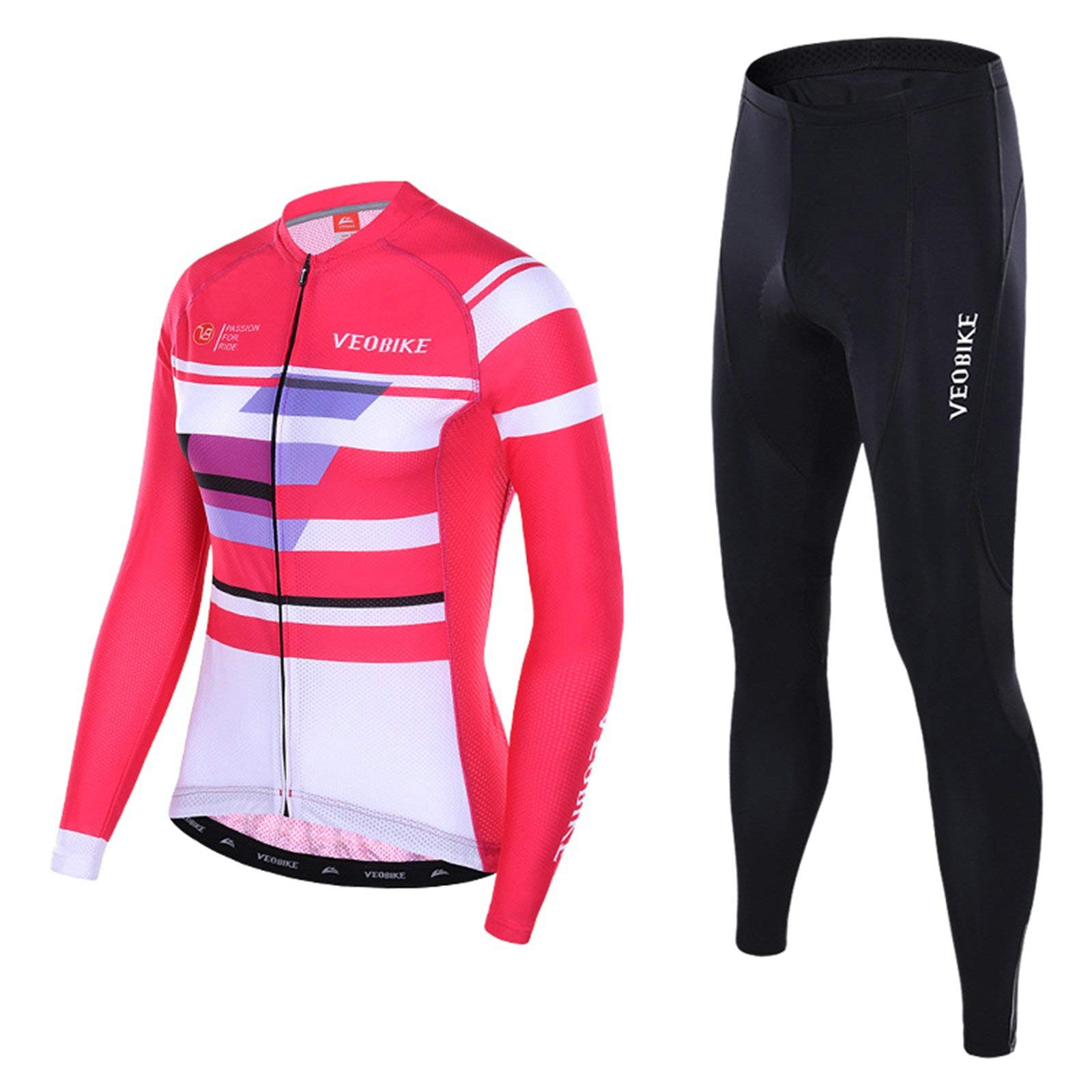 Aooaz Women's Cycling Clothes Full Sleeve Riding Wear Long Sleeve Shirt Tights Biking Outfit Pink Size S