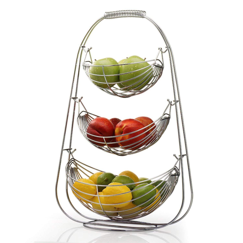 NONMON Triple Hammock 3 Tier Chromed Metal Fruit Bowl Vegetables Basket OTD23002