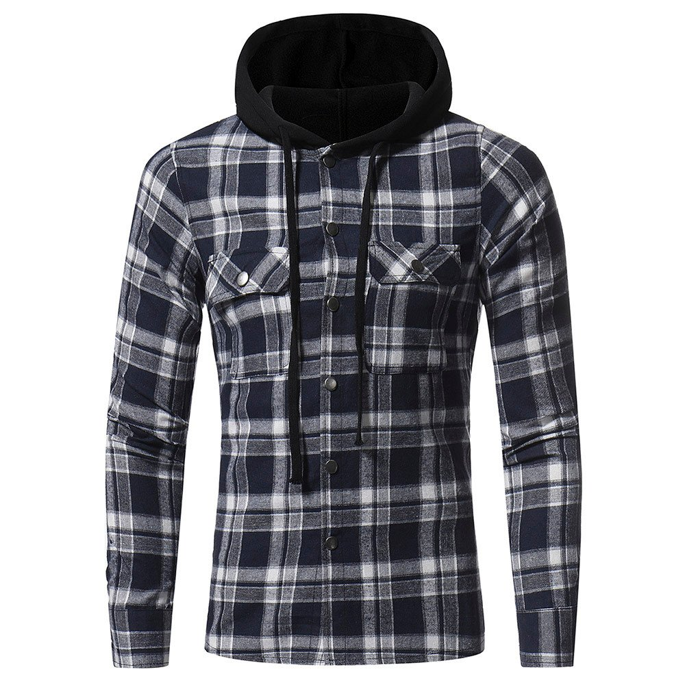 Plaid Hoodie,Stylish Men Shirt With Hoods Winter Button Lattice Hooded Sweatshirt Casual Shirt Tops (Asian:L, Navy) by WM & MW