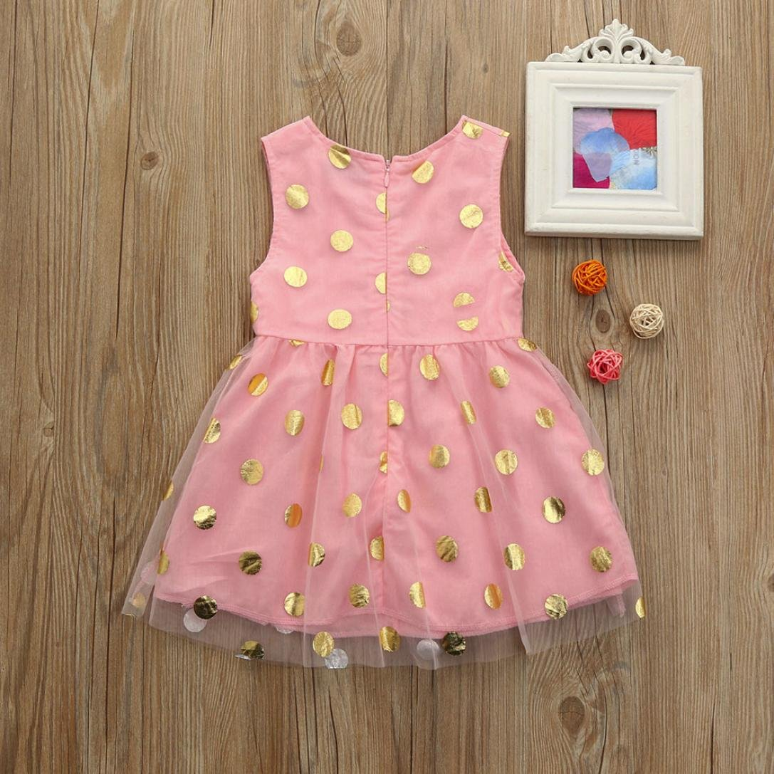 Toddler Baby Girl Sleeveless Solid Ruffle Dot Lace Princess Tutu Dresses Outfit Clothes