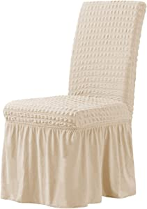 CHUN YI Stretchy Universal Easy Fitted Dining Chair Cover Slipcovers with skirt, Removable Washable Anti-Dirty Furniture Protector for Kids Pets Home Ceremony Banquet Wedding Party (2pcs, Light Khaki)