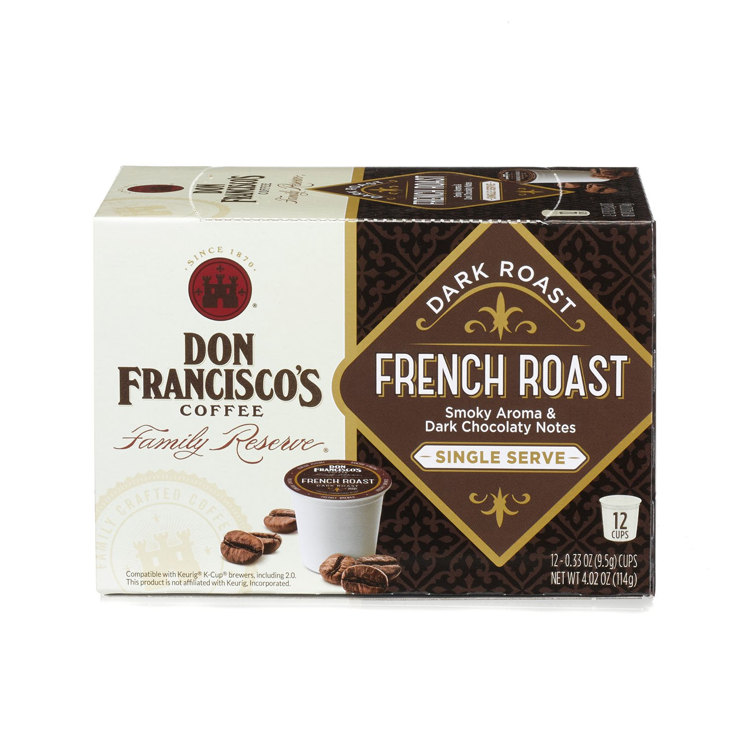 Don Francisco's French Roast, Premium 100% Arabica Coffee, Dark-Roast, Single-Serve Pods for Keurig, 12-Count, Family Reserve