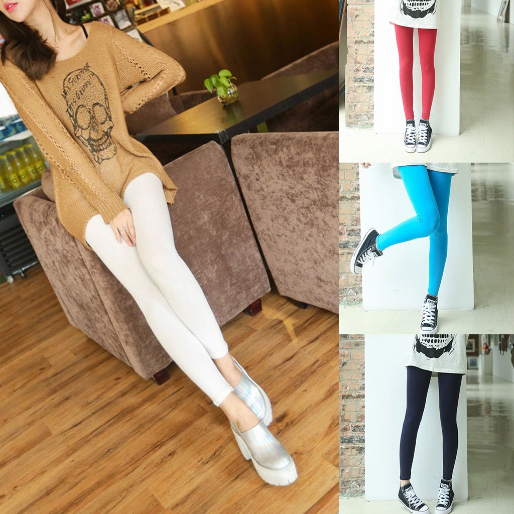 Tandou Womens Modal algodón Monótono Fitness Leggings Elastic Plus Size Medias Pantalones, Azul Real: Amazon.es: Deportes y aire libre