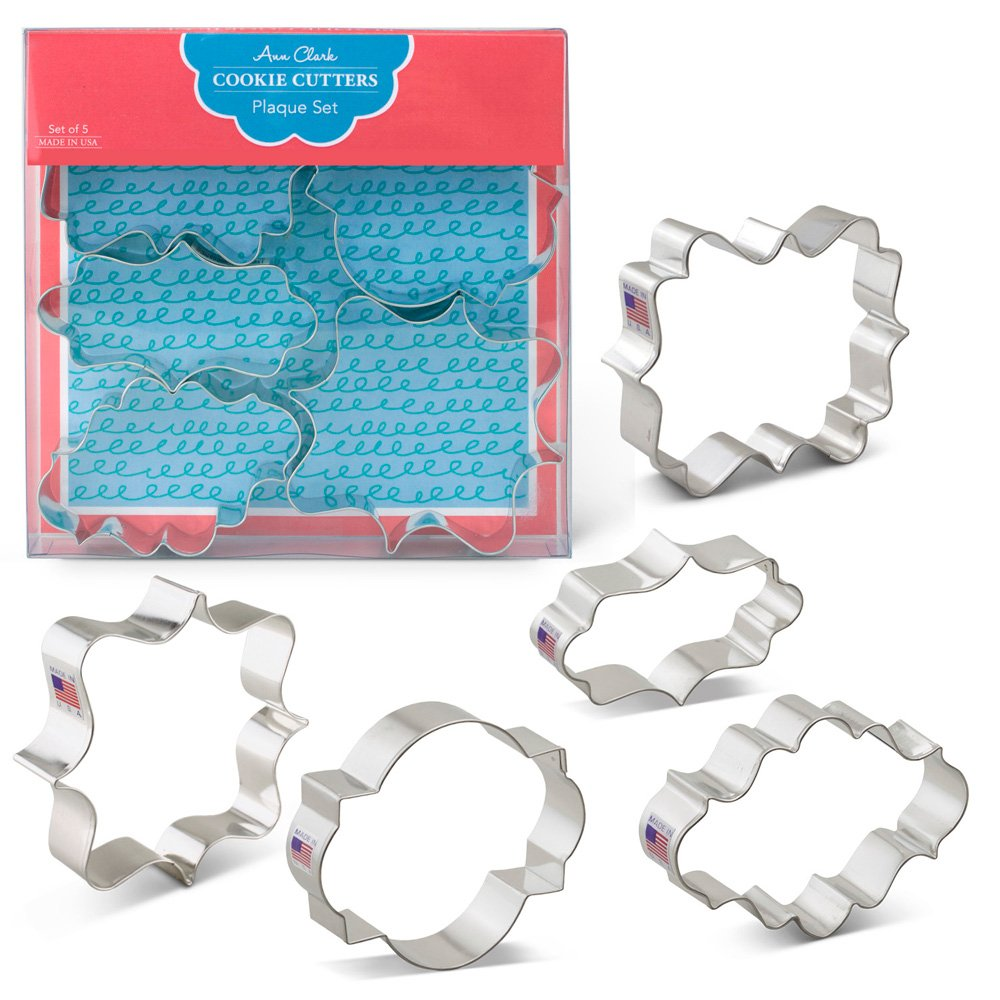 Plaque/Frame Cookie Cutters - 5 Piece Boxed Set - Oval, Long Fancy, Square, LilaLoa's Square, Photo - Ann Clark - US Tin Plated Steel