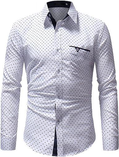 BOLAWOO Camisa con Bolsillos Estampado para con Hombre Polos ...