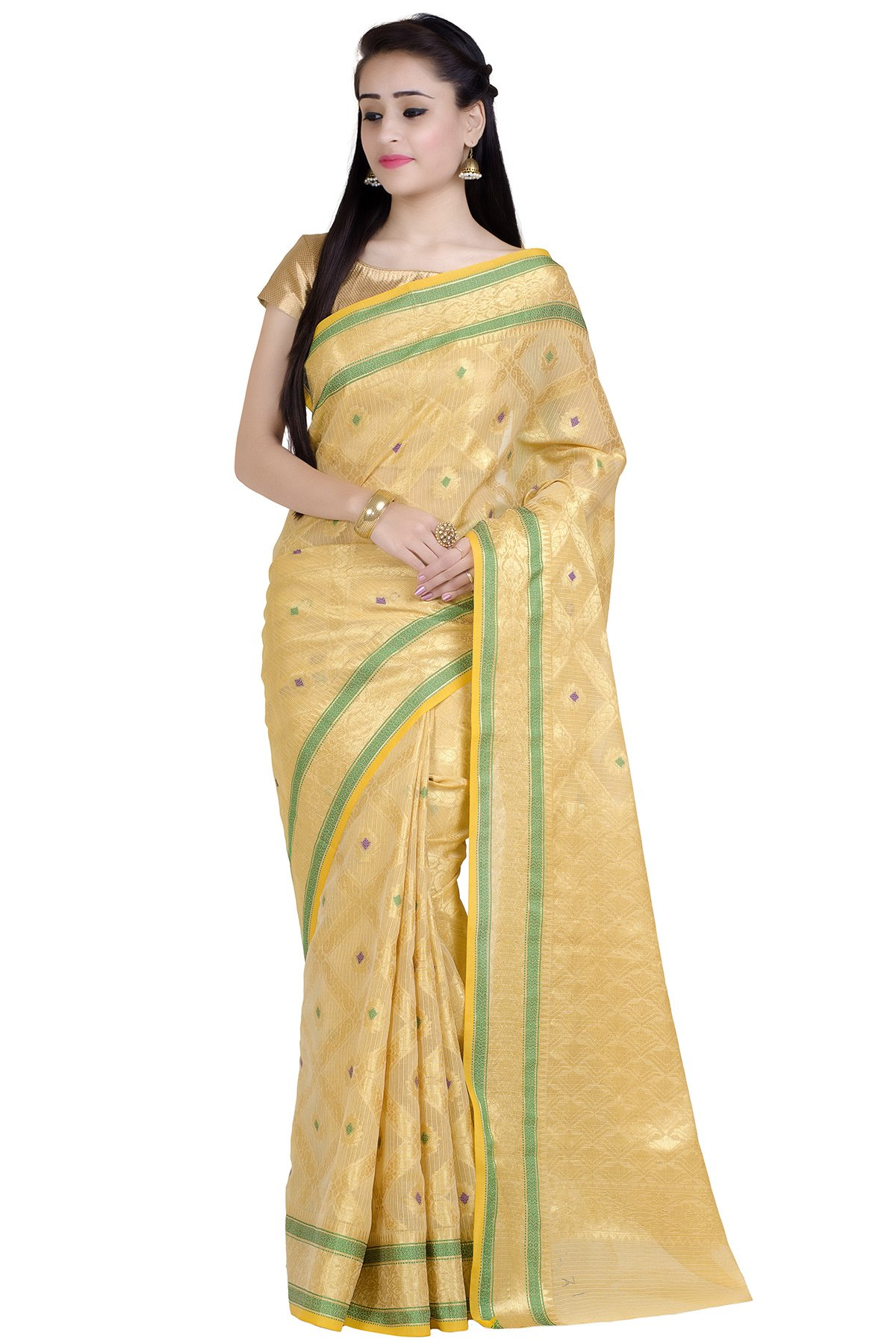 Chandrakala Women's Beige Supernet Cotton Banarasi Saree(1275BEI)