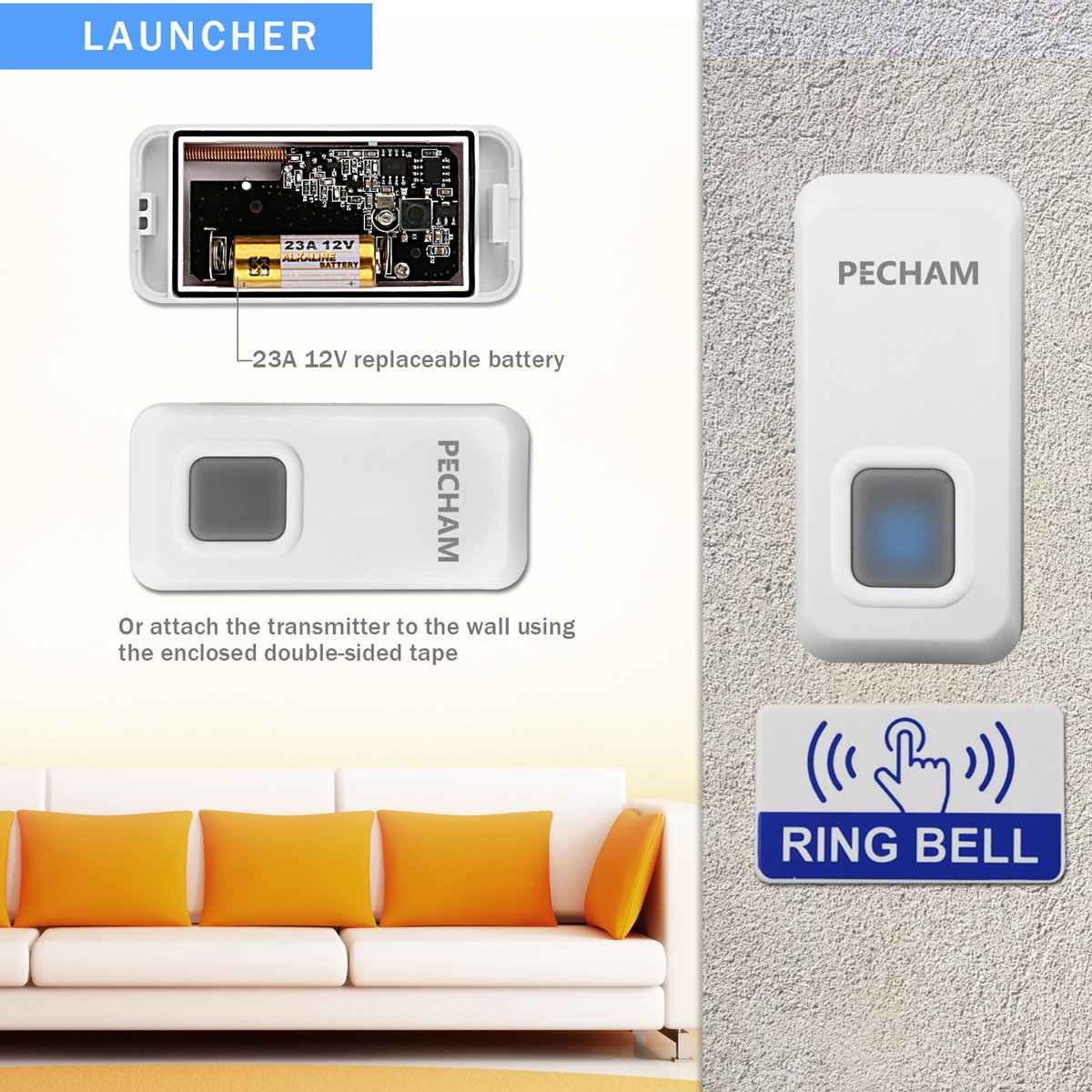 PECHAM Wireless Doorbell Chime Kit Waterproof Remote Button with Receiver 55 Chimes LED Indicator for Home / Office - White