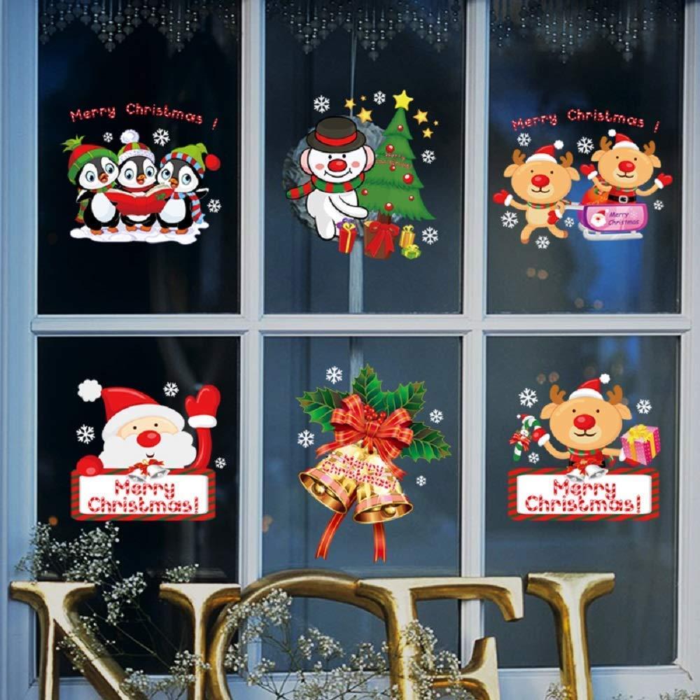 Windows Glass Hocai Christmas Stickers A Window Glass Stickers Removable Wall Stickers 9.8 x 13.8 in//pc Patterns with Snowflake /& Santa Claus Christmas Decorations for Shop Home 4 Sheets