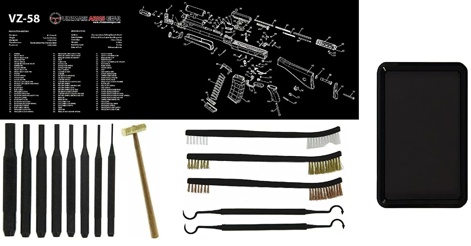 Amazon ultimate arms gear vz58 vz 58 gunsmith armorers amazon ultimate arms gear vz58 vz 58 gunsmith armorers bench mat 8pc punch tool set kit 8 brass hammer 3 double ended brushes 2 curved pooptronica Images