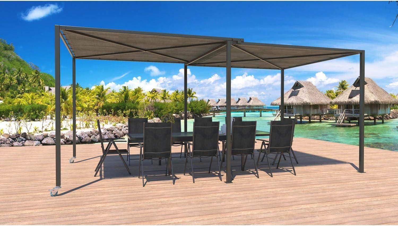JFB - Pérgola Deslizante con Ruedas (5, 5 x 2, 5 m), Color Gris y Gris: Amazon.es: Jardín