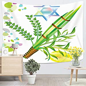 Houlor Tapestry Wall Hanging Lulav Jewish Holiday of Sukkot Israel Mitzvah Myrtle Leaf Festival Etrog Art Chakra Polyester Home Decorations for Bedroom Dorm Decor 50 x 60 Inches