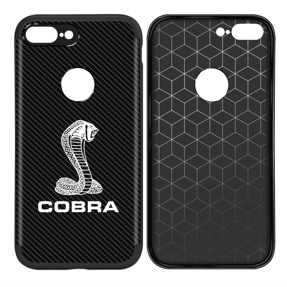 Amazon com iphone 7 plus case iphone 8 plus case ford mustang cobra shockproof black bumper carbon fiber textures cell phone case cell phones